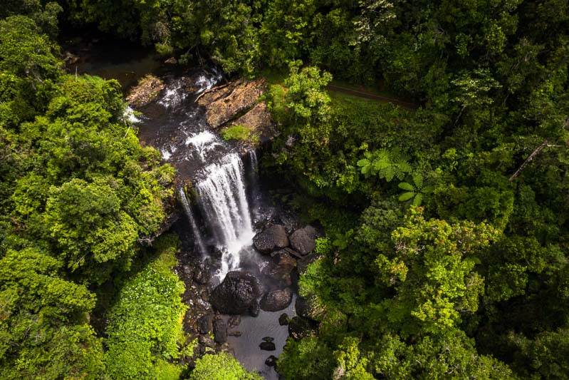 Aerial view of Zillie Falls on the Atherton Tablelands