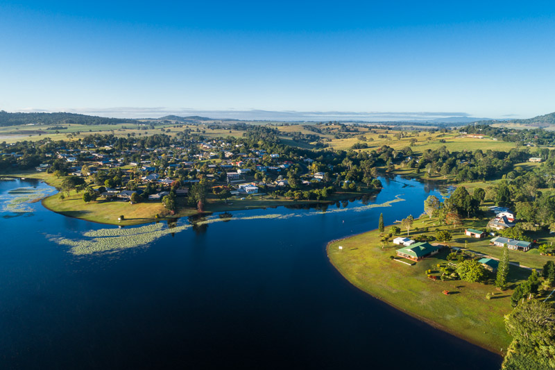 Aerial view of Tinaroo Dam and the lakeside village of Tinaburra, Atherton Tablelands
