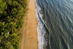 Aerial view of person walking along deserted tropical beach at Palm Cove, Cairns