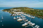Aerial view of boats in the Port Douglas marina