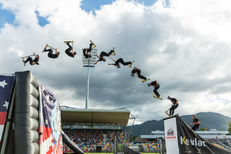 Composite image showing scooter rider Ryan Williams sequence of jump over ramp, Cairns