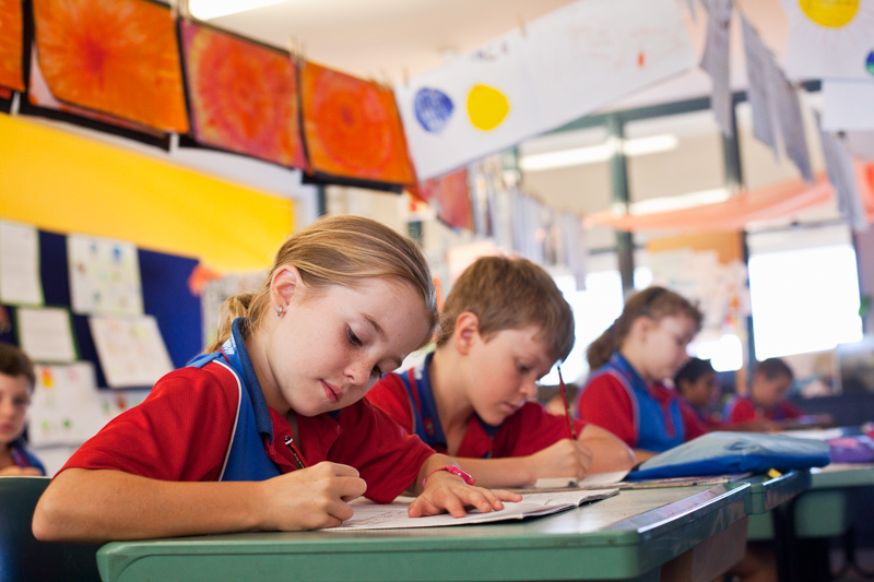 Primary school students working at their desks in the classroom