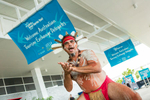 Indigenous dancer at Airport Welcome for delegates of 2014 Australian Tourism Exchange in Cairns