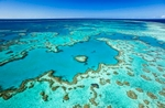 Aerial view of reef formations at {quote}Heart Reef{quote} in the Great Barrier Reef Marine Park, Whitsundays