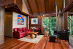 Living room of treehouse accommodation at Rose Gums Wilderness Retreat