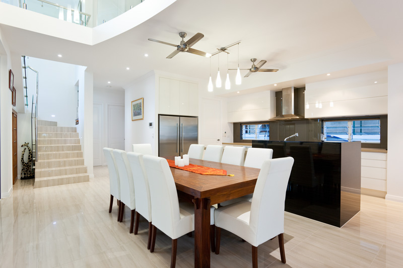 Interior image of dining and kitchen areas in a residential home, Cairns