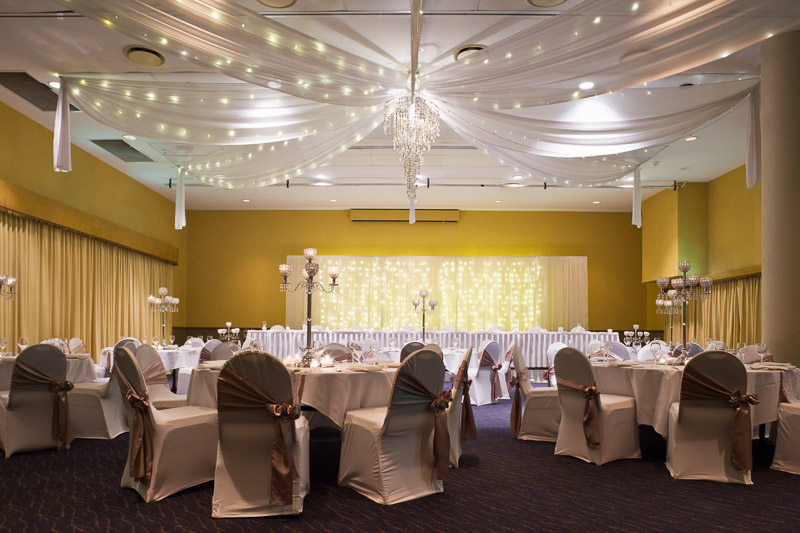 Room setup for a wedding reception at Coral Sea Resort, Airlie Beach