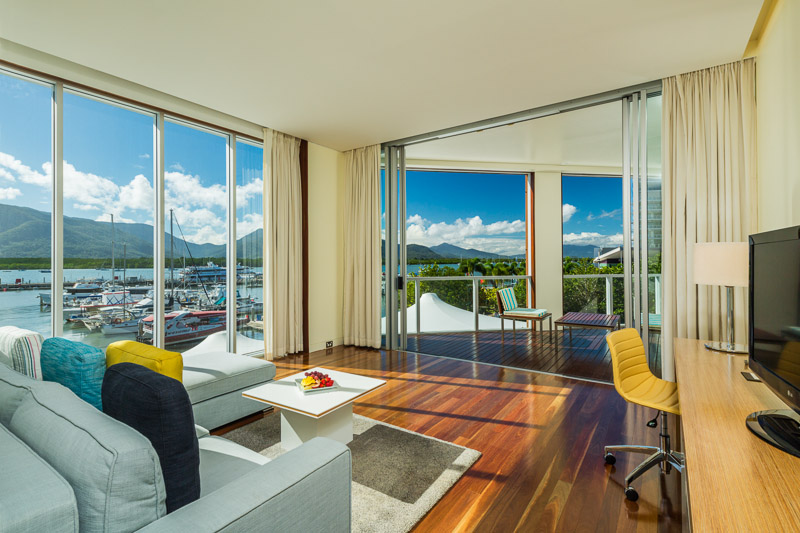 Interior of Shangri-La hotel room with view of the marina, Cairns