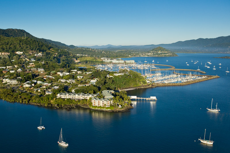 Aerial view of Coral Sea Resort at Airlie Beach