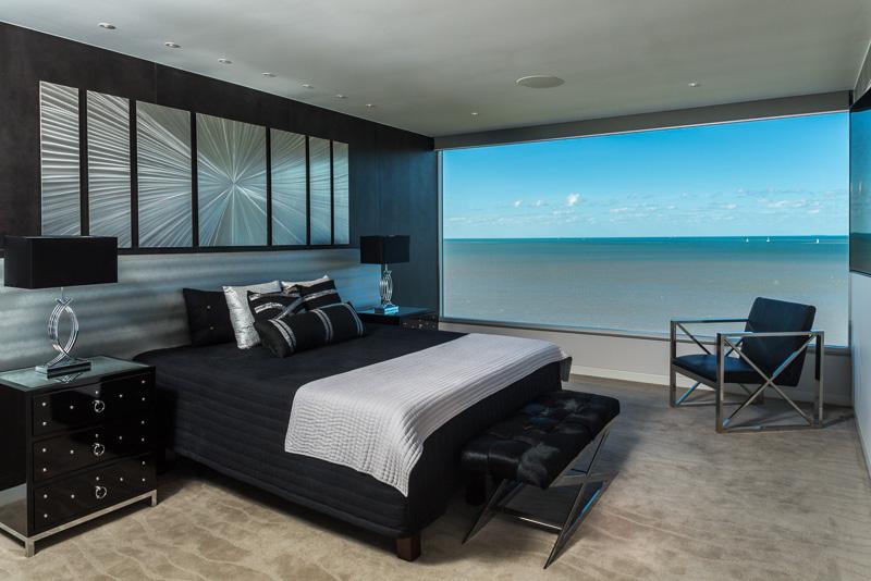 Bedroom with views overlooking the Cairns Esplanade