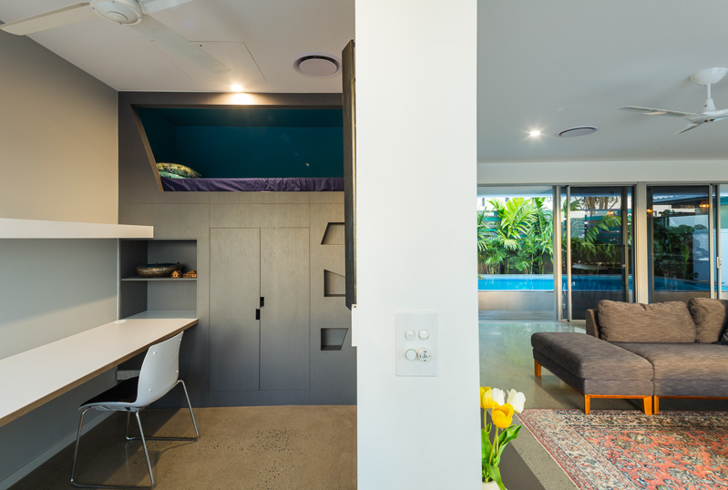 Interior image of home office and living room in residential home, Cairns