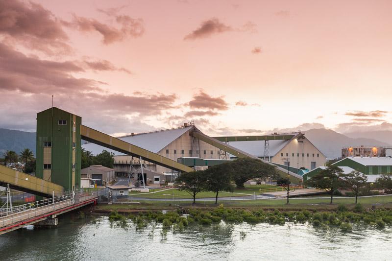 Sunset view of the Cairns Bulk Sugar Terminal