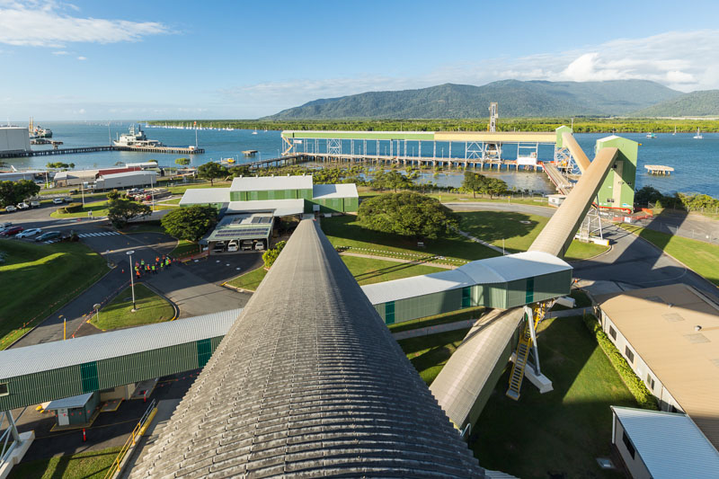 View across the Cairns bulk sugar loading facility on the waterfront