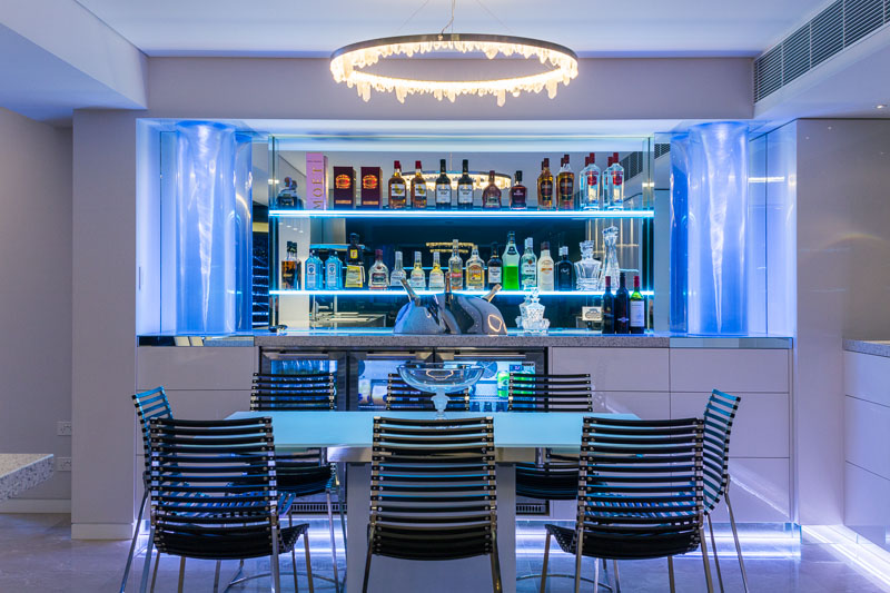 Ice themed home bar in a residential apartment, Cairns