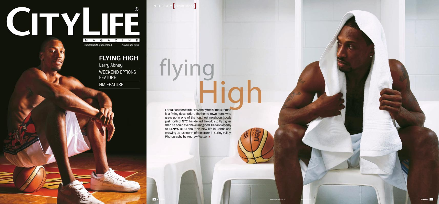 Magazine Photography - Larry Abney, Cairns Taipans NBL team.  Cover and inside story for CityLife Magazine.