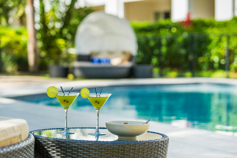 Tropical cocktails served by the pool at the Alamanda Resort Palm Cove, Cairns