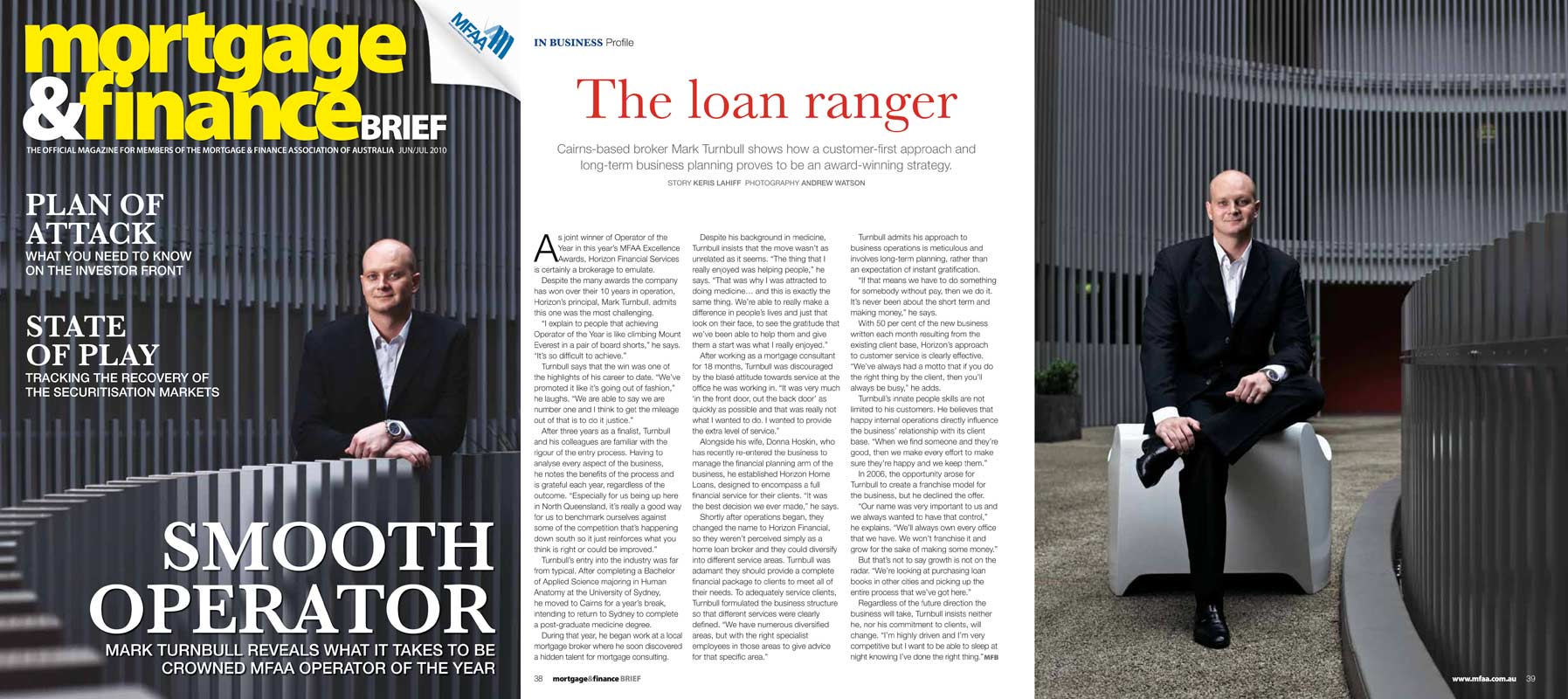 Editorial Photography - Mark Turnbull, businessman.  Cover and inside story for Mortgage & Finance Brief magazine.