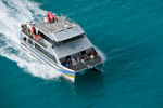 Aerial view of passengers on the MV Torres Magic ferry service in the Torres Strait