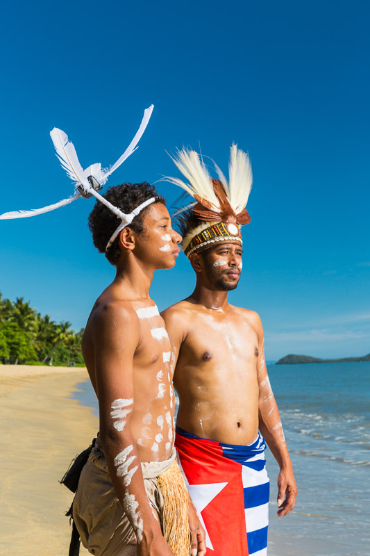 Portrait of male Torres Strait Island and PNG indigenous dancers