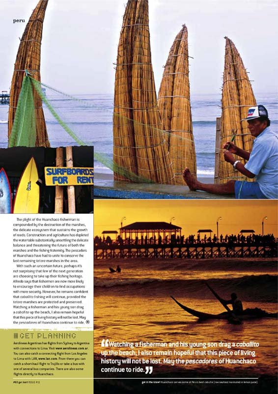 Travel Photography - The totora boat fishermen of Huanchaco, Peru.  Inside story for Get Lost! magazine.