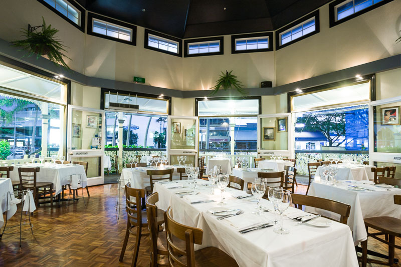 Dining room of C'est Bon French restaurant in Cairns
