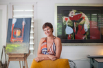Portrait of artist in home studio, Port Douglas