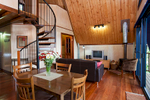 Interior of treehouse accommodation at Rose Gums Wilderness Retreat