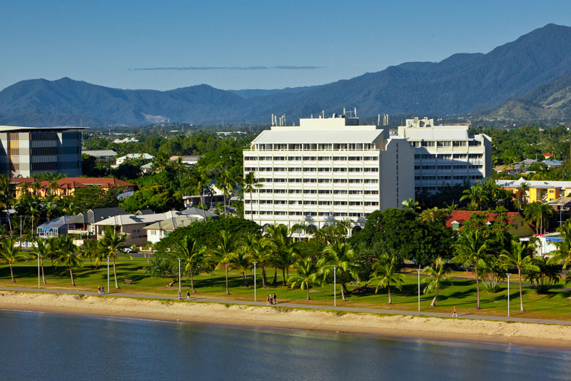 Aerial view of the Cairns Esplanade and Mercure Harbourside Hotel