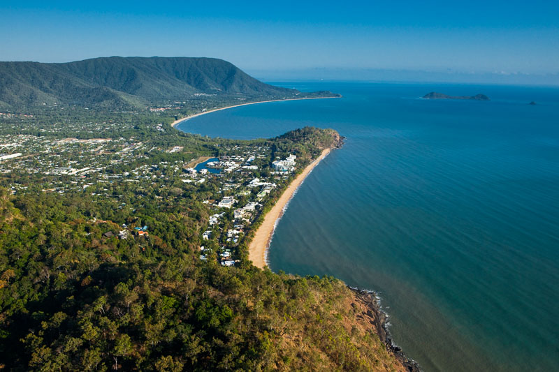 Aerial view along Trinity Beach and Cairns' northen beaches coastline