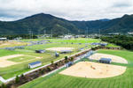 Aerial view of baseball fields in sporting precinct, Cairns