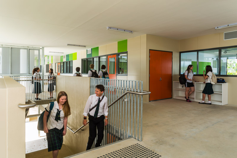 High school students walking together on their way to class, Cairns