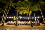 Group diining amidst the coconut palms at Nu Nu Restaurant, Palm Cove