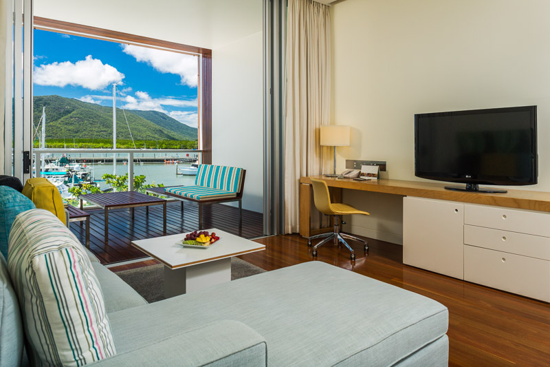 Hotel room with views over the marina at the Shangri-La Cairns