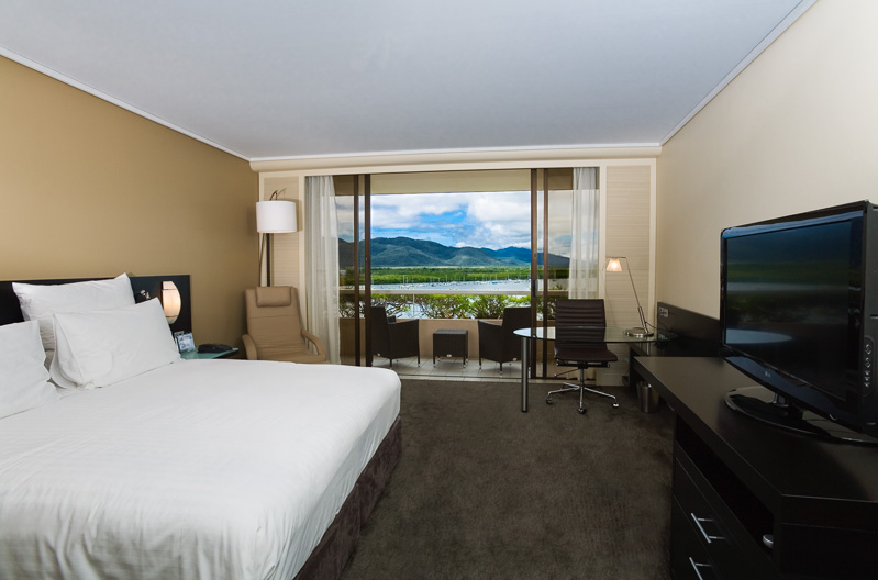 Interior of deluxe hotel room at the Hilton Cairns