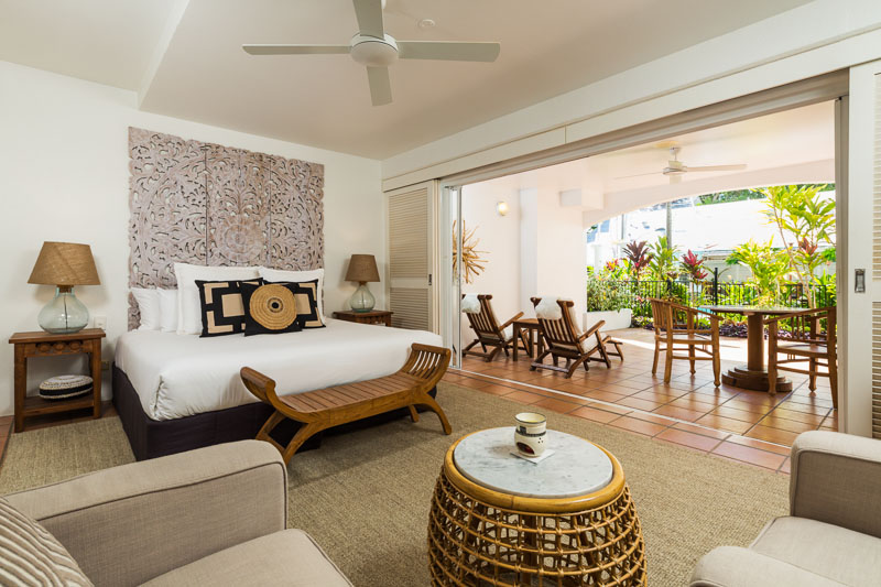 Interior of luxury resort room at The Reef House, Palm Cove
