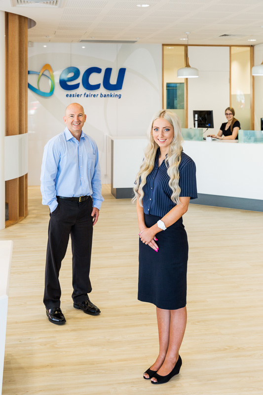 Business photo of team members at ECU Australia bank branch in Cairns