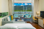 Luxury room suite with views of the waterfront at the Shangri La Hotel Cairns