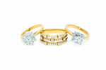 Gold rings set with diamonds at Rowe Design in Cairns