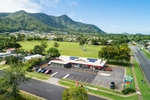 Aerial view of shopping village and carpark, Cairns