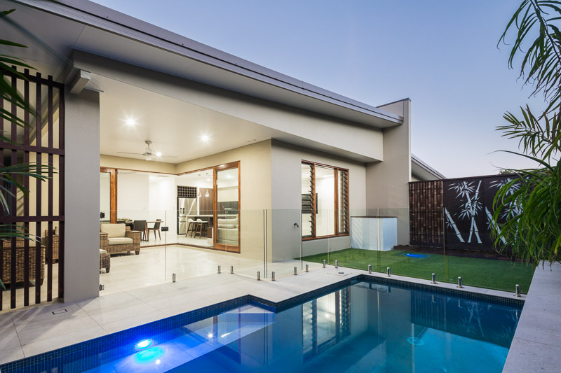 Pool and outdoor patio of residential home, Palm Cove