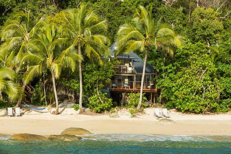 View of beach house villa at Bedarra Island Resort