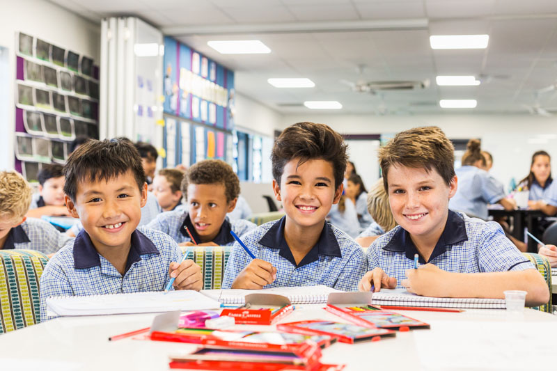 Portrait of smiling male students in the classroom