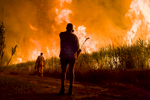 Image of workers silhouetted against a sugar cane fire, near Cairns