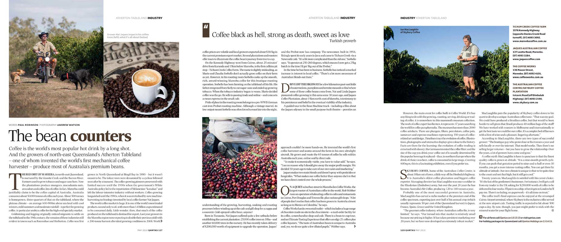 Magazine Photography - Tablelands coffee industry.  Inside story for The Australian Way inflight magazine.