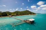 Aerial view of pearl farm pontoon at Friday Island in the Torres Strait