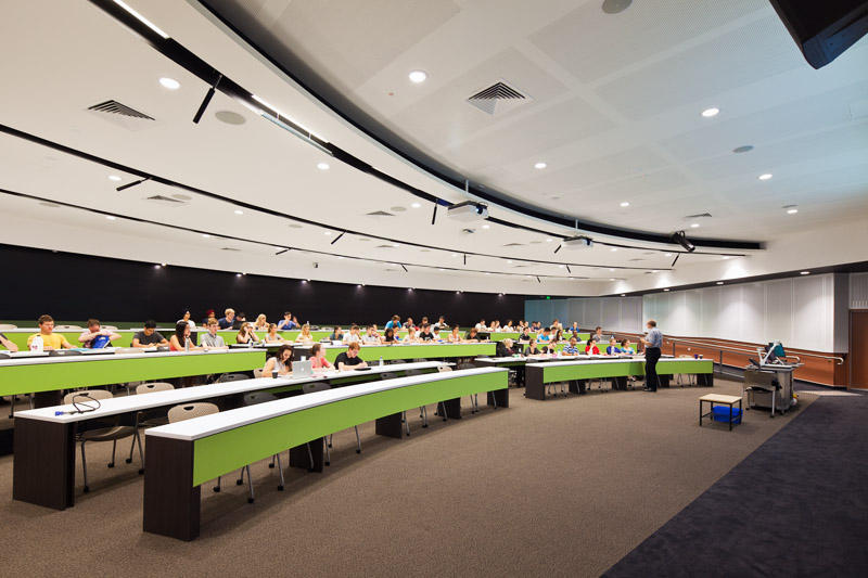 Room shot of students attending a lecture theatre at James Cook University, Cairns