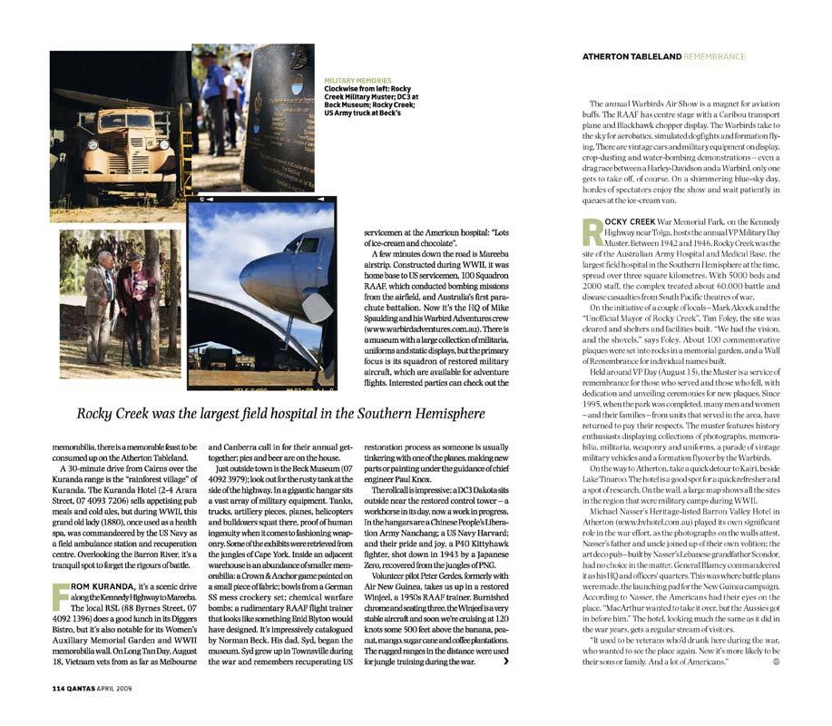 Magazine Photography - Atherton Tablelands war history.  Inside story for The Australian Way inflight magazine.
