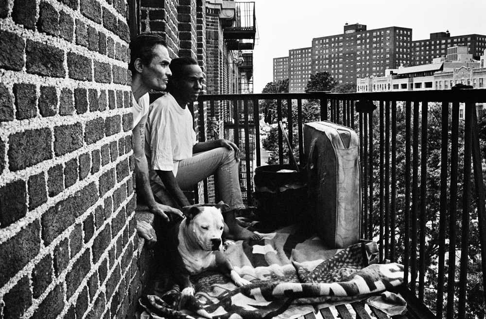 BRONX, NEW YORK - JULY 24: Wilfredo {quote}Sugar{quote} Gonzalez, right, and her husband Luis San Oguel, both HIV-positive, on the fire escape of their University Heights apartment with their pit bull China, July 24, 2013.