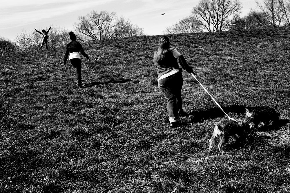 SOUTH BRONX, NEW YORK - APR 16: Left to right, Eshey Scarborough's grandaughter Naya, with foster children Daybelis Ramirez, 16, and Karoline Harris, 17, walking their dogs in St. Mary's Park April 16, 2009. Eshey and her partner Paris Harris run a foster home for at-risk youth in the South Bronx.