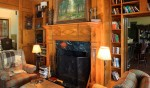 Den/home office of custom designed home by Pavelchak Architecture in Blowing Rock, North Carolina, near Boone.